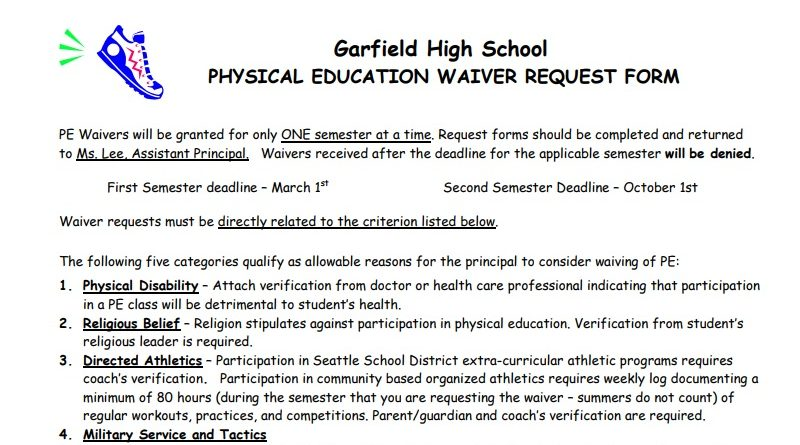 Pe Waivers For Nd Semester  Due  Monday Oct   Garfield